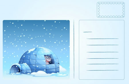 Illustration of an igloo postcard Vector