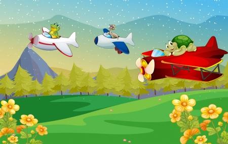 tree frogs: ilustraci�n de un avi�n de Air animales volando Vectores
