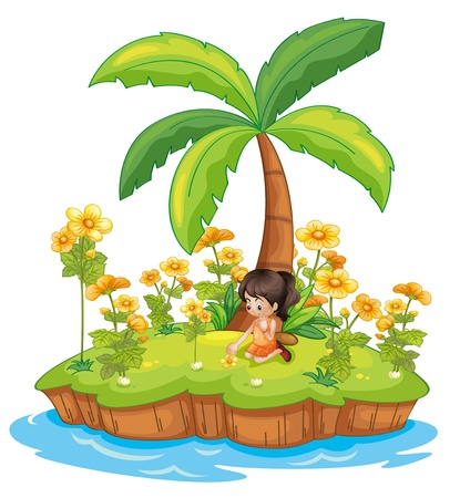 island clipart: Illustration of a girl on an island