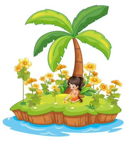 nieużytki: Ilustracja dziewczyna na wyspie Ilustracja