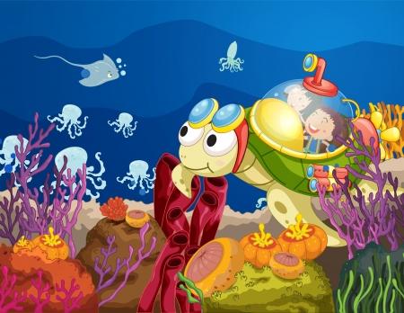 girl underwater: illustratie van zee schildpad die kinderen in het water