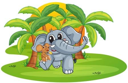 kumpel: Illustration der Elefant und Maus auf wei�em Hintergrund
