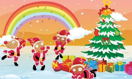 illustration of four reindeers celebrating christmas festival Stock Vector - 14106856