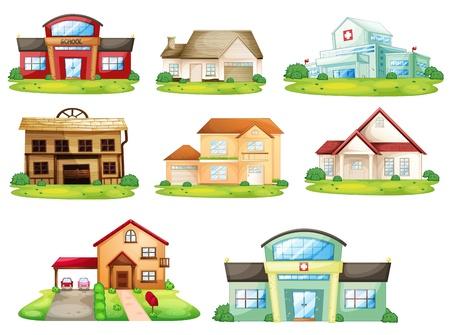 Illustratie van huizen en andere gebouwen