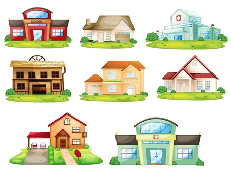 home school: Illustration of houses, and other buildings
