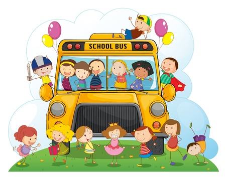 autobus escolar: ilustración de los niños con transporte escolar sobre un fondo blanco