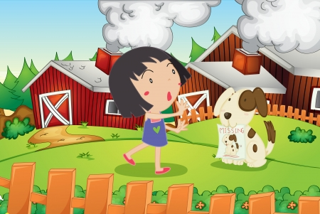 Illustration of girl and missing dog Vector