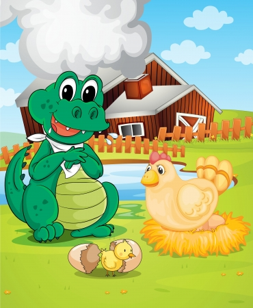 farm structures: illustration of farm house, crocodile, hen and chicken