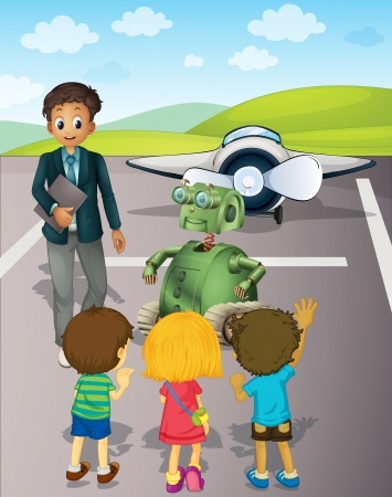 male teacher: Illustration of kids at the airport Illustration