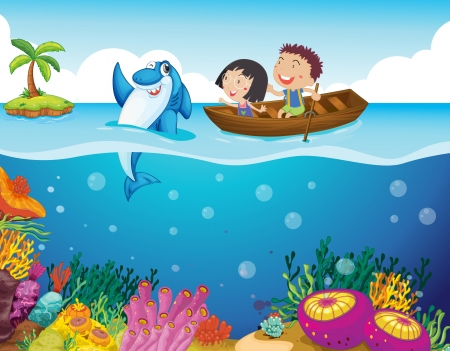rowboat: Illustration of kids with a shark
