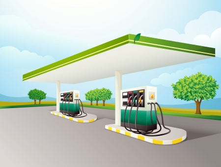 station: Illustration of a gas station scene