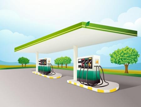 bomba de gasolina: Ilustración de una escena de la estación de gas Vectores