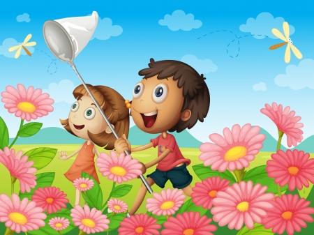 catch: illustrazione di bambini cattura mosche in un giardino