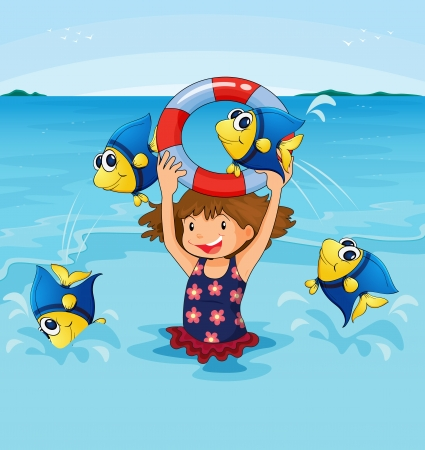Illustration of girl playing with fish Illustration