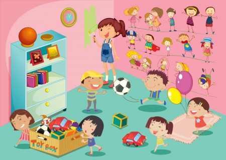 children playing with toys: Illustration of childen in a bedroom