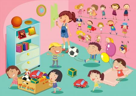 pull toy: Ilustración de childen en un dormitorio