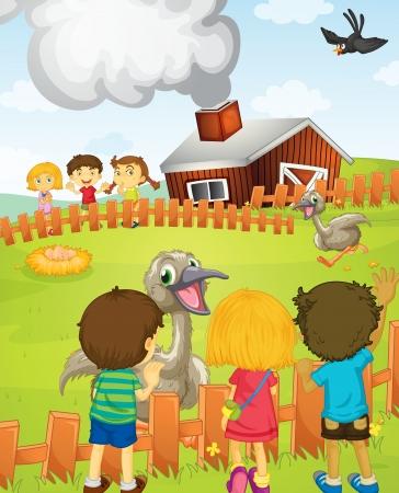 Illustration von Kinder auf dem Bauernhof Vektorgrafik