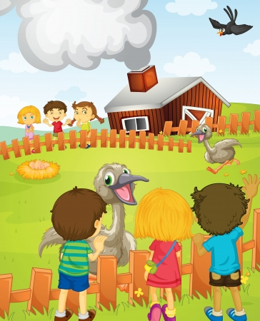 emu: Ilustraci�n de los ni�os en la granja