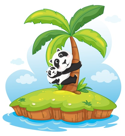 Illustration of pandas on an island Illustration