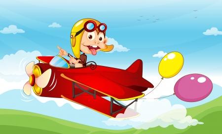 piloto de avion: Ilustración de un mono en un plano Vectores
