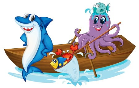 squids: illustration of a fish and boat in a water