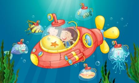 submarino: Ilustraci�n de una aventura sumarine Vectores