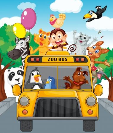 animales del zoo: Ilustración de autobús escolar lleno de animales