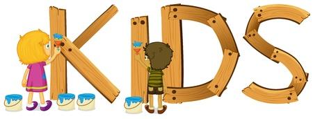 wooden work: Illustrazione di un cartello in legno per bambini