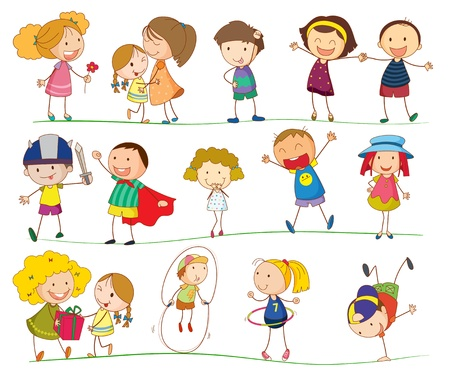 Illustration of simple kids on white Vector