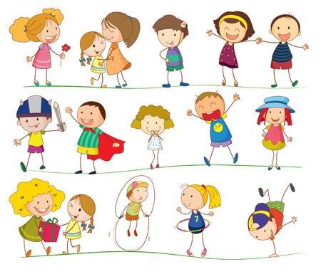 bambini che giocano: Illustrazione di ragazzi semplici su bianco