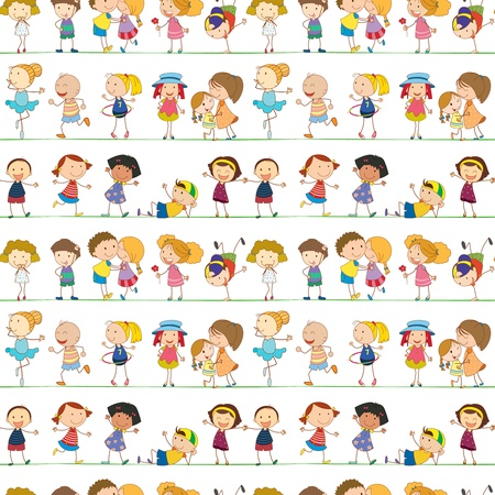 guy with walking stick: Illustration of seamless children pattern Illustration