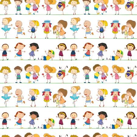 ni�os jugando en la escuela: Ilustraci�n del patr�n de los ni�os sin problemas