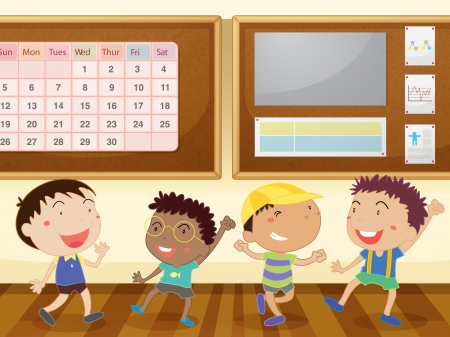 calendario escolar: ilustraci�n de un ni�os felices disfrutando en el aula