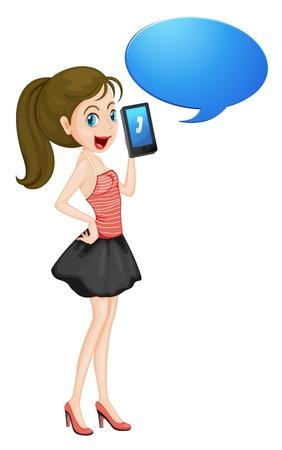 telefono caricatura: ilustraci�n de una chica con un tel�fono celular en blanco