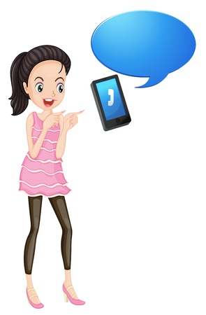 woman on phone: illustration of a girl with cell phone on a white