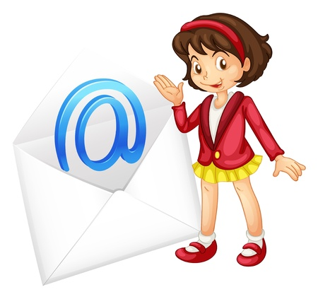 send email: illustration of a girl with mail envelop on a white Illustration