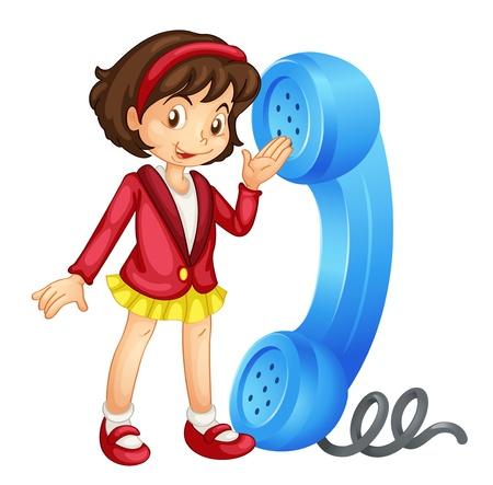 ragazza al telefono: illustrazione di una ragazza con il telefono su uno sfondo bianco