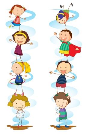 tanzen cartoon: Illustration eines Jungen tun verschiedenen Aktivit�ten Illustration