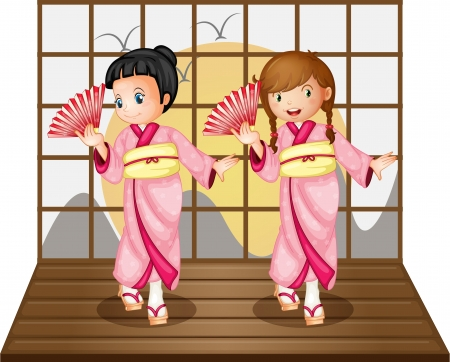 Illustration of Asian dancers on stage Vector