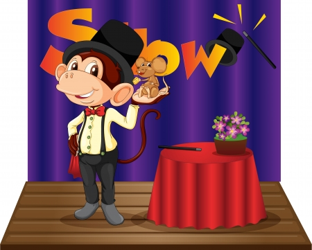 tophat: Illustration of a monkey magician on stage