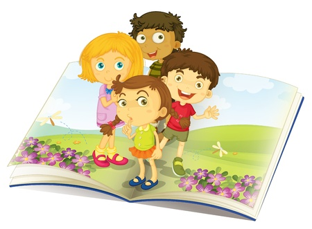children book: illustration of kids watching flies in a garden