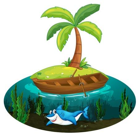 rowboat: Ilustraci�n de un tibur�n y la isla