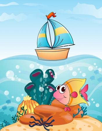 toy fish: illustration of a ship and fish in water