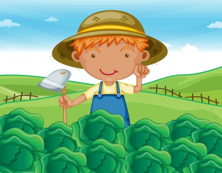 illustration of a boy working in farms  Stock Vector - 14107124