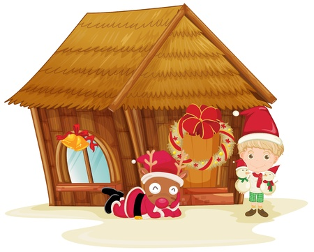 illustration of reindeer and boy celebrating christmas Vector