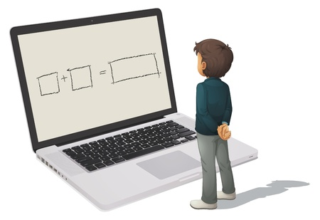 illustration of man and laptop on a white background Vector