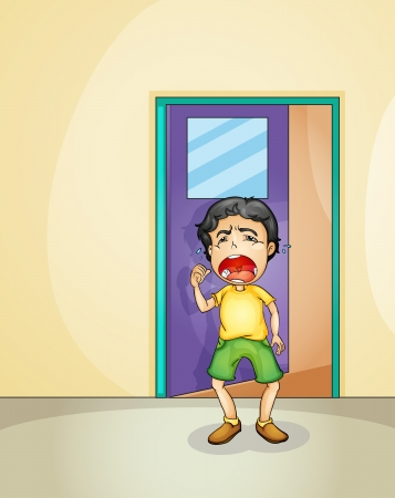 screaming: Illustration of a boy crying at the doorway Illustration