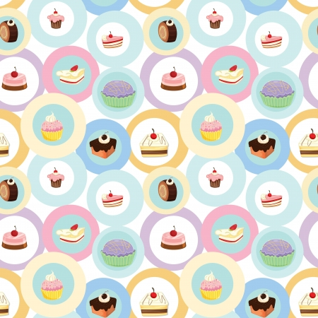 illustration of various cakes on a white background Vector