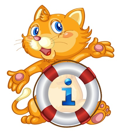 Illustration of a cat with information sign Vector
