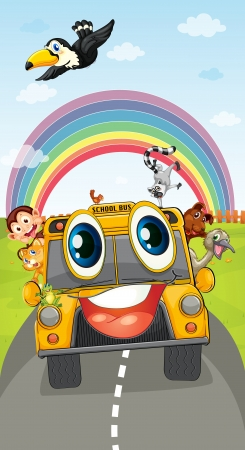 driving school: illustration of various animals in school bus